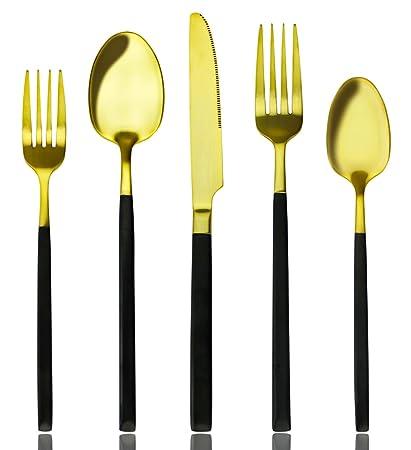 AOOSY - Juego de Cubiertos (20 Piezas, Cuchillo y Tenedor de Acero Inoxidable para