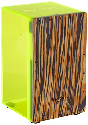 Tycoon 29 Series Neon Green Acrylic Cajon with Black Makah Burl Front Plate