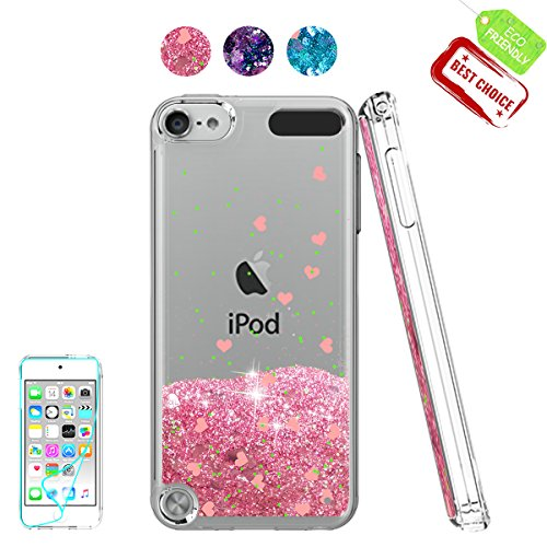 iPod Touch 6 Case, iPod Touch 5 Case with HD Screen Protector For Girls,Atump[Love Heart Series] Liquid Glitter Bling Sparkly TPU Clear Phone Cover for Apple iPod Touch 6th/5th Generation - 5th Case Ipod Clear Touch