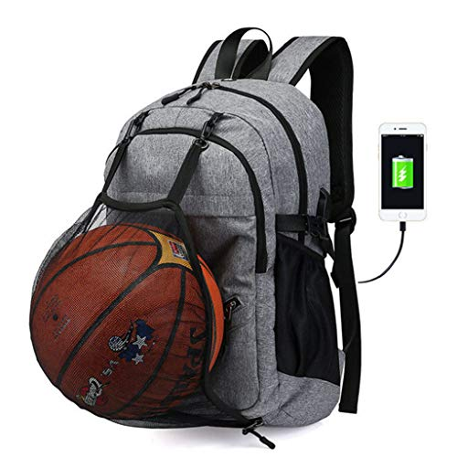 (Gatycallaty Anti-Theft Basketball Backpacks for Boys Men with USB Charger Ports and Headset;Lightweight Water Resistant Laptop Bookbags for Teenager Collages Students (Silver-1))