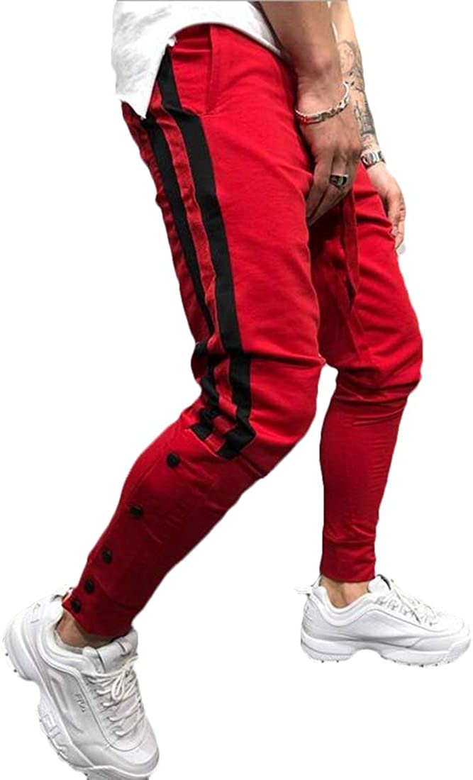 CRYYU Men Sport Print Casual Stretch Jogger Pants Gym Workout Pants Sweatpants