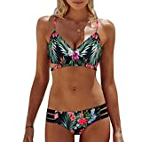 Syban.Women Bohemia Push-up Padded Bra Beach Bikini Set Swimsuit Swimwear(Green,X-Large