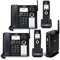 Telco Depot Bundle of VTech 4-Line Small Business Phone System with 2 Desksets and 2 Handsets Includes 2 Lines Unlimited Calling US and Canada for 1 Year