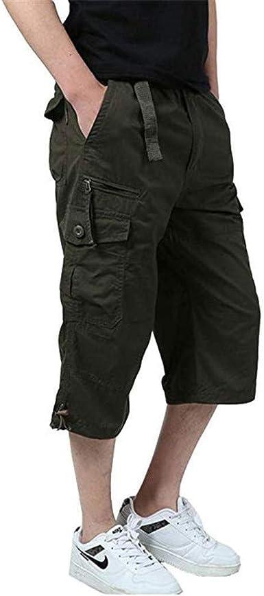 3 4 Pantalones Pantalones Cortos Para Hombres Pantalones De Trabajo De Verano Pantalones Festivo De Trabajo Para Hombres Pantalones Cortos Capri Cargo Cortos Pantalones De Verano De Tres Cuartos Amazon Es Ropa Y
