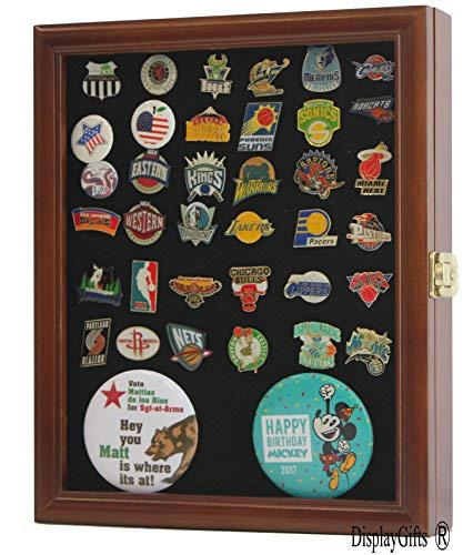 - Lockable, Pin Display Case Shadow Box, with glass door, wall mount, Walnut Finish (PC02-WA)