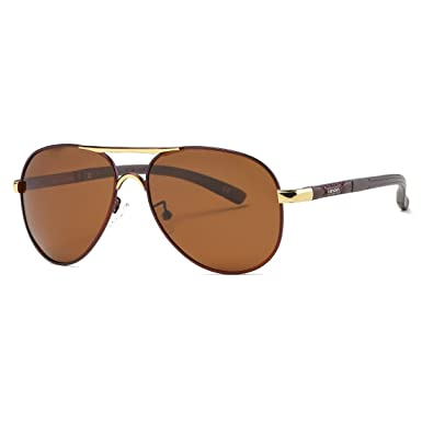 80d2c78ccb Kimorn Polarized Sunglasses For Men Retor Metal Frame Classic 5 Colors Sun  Glasses K0553 (Brown