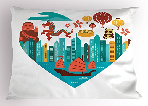 Lunarable City Love Pillow Sham, Hong Kong Skylines Built in Heart Shape Frame Dragon Panda and a Sailing Boat, Decorative Standard Queen Size Printed Pillowcase, 30 X 20 inches, ()