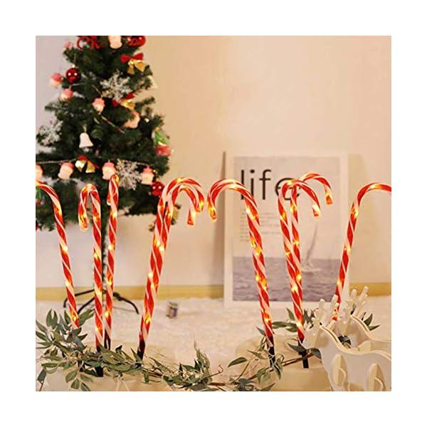Amusingtao - Set di 2 luci a forma di bastoncino di Natale, a energia solare, luci da giardino, luci a LED, luci da terrazza, patio, percorso, giardino, decorazione per vacanze, feste di Natale 5 spesavip