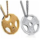"YHY 2pcs Mens Stainless Steel Fitness Gym Dumbbell Weight Plate Barbell Pendant Necklace 22"" Chain"