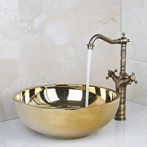 Ohcde Dheark Ceramic Bathroom Sink Round Polished Golden Bathroom Sink Set Antique Brass Double Handle Bathroom Faucet
