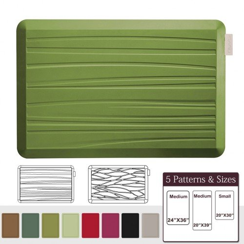 NUVA Anti Fatigue Standing Floor Mat 30 x 20 in, 100% PU Comfort Ergonomic Material Unlike PVC leather mats! 4 Non-slip PU Elastomer Strips on Bottom, 5 Safety Test by SGS (Olive Green, Beach Pattern)