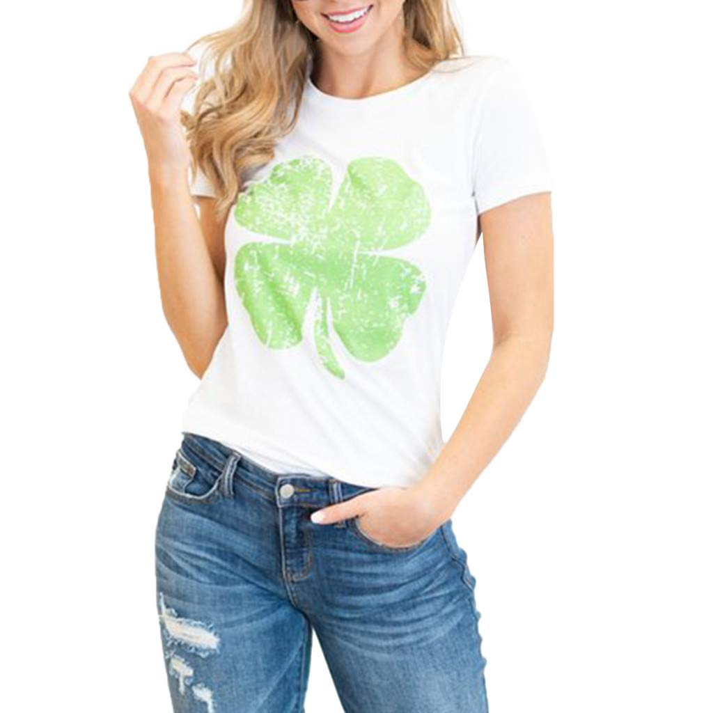 Women St. Patrick's Day T-Shirt, Printed Cotton T-Shirt Short Sleeve Tops Tees (M, White)