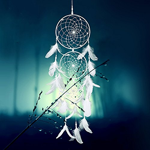Caught Your Dreams Handmade Dream Catcher White Angel with Triple Circle Design