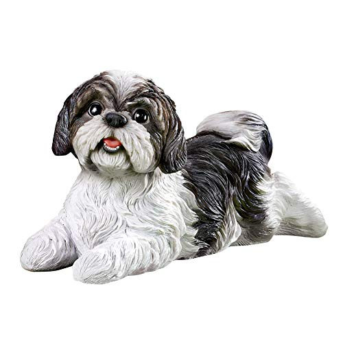 Collections Etc Shih Tzu Garden Figurine - Realistic Textured Figurine for Yard, Porch, or Any Room in Home, Black and White from Collections Etc