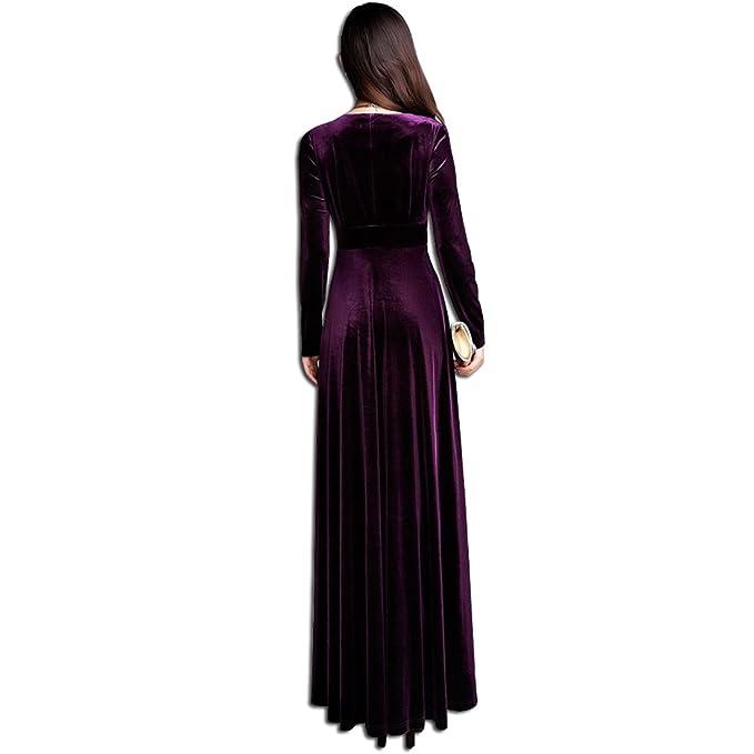 7c95bd9ae26 KAXIDY Damen Langes Kleid V-Ausschnitt Lange Langarm Samt Abendkleider  Partykleider Cocktailkleider  Amazon.de  Bekleidung
