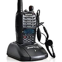 Mengshen Baofeng Radio UV-B6 Walkie Talkie Portable Two-Way Radios Handheld Transceiver FM/VHF/UHF Dual Band Black + Headset