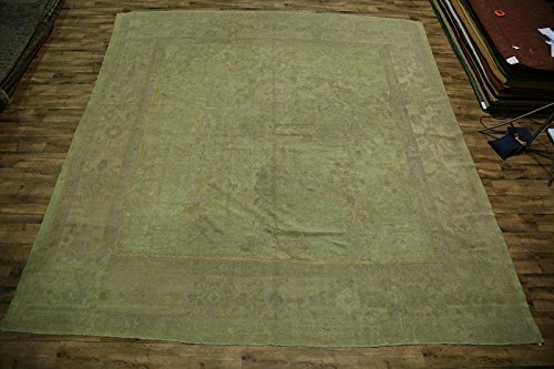 Pre-1900 Square Antique 14x14 Green Oushak Turkish Oriental Rug