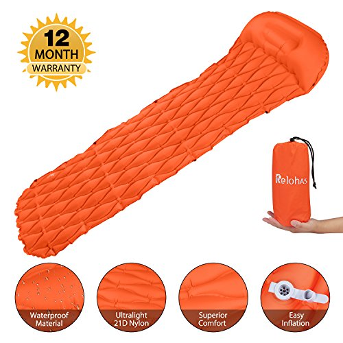 Monja Outdoor Sleeping Pad,Ultralight Inflatable Sleeping Mat, Most Comfortable Gourd Type Design,Better Stability & Support,Lightweight Waterproof with Sleeping Pillow for Camping,Beach,Hik
