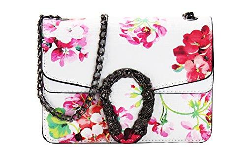 Designer Inspired Flower Crossbody Bag (WHITE)
