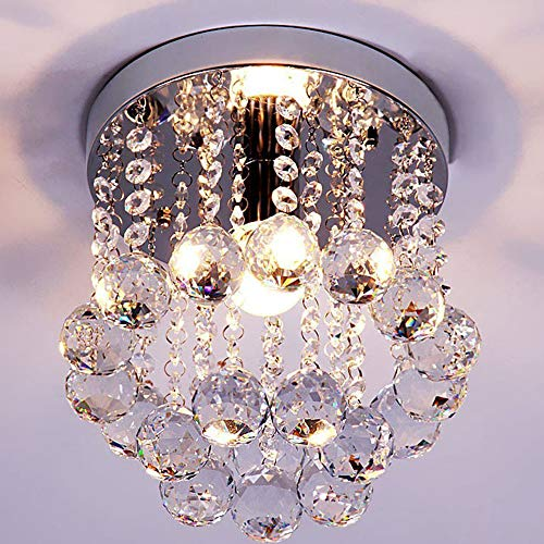 ZEEFO Crystal Chandeliers Light, Mini Style Modern Décor Flush Mount Fixture With Crystal Ceiling Lamp For Hallway, Bar, Kitchen, Dining Room, Kids Room (8 inch) (Crystal Kitchen Bars)