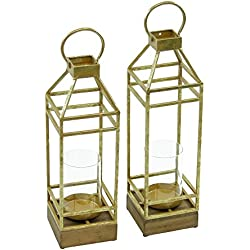 Magari Furniture Lieve Candle Lantern (Set of 2), Rustic Gold, 2 Piece