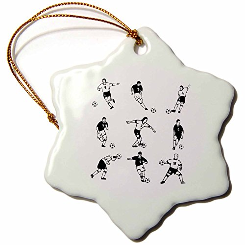 3dRose orn_26366_1 Soccer Players Snowflake Ornament, Porcelain, 3'' by 3dRose