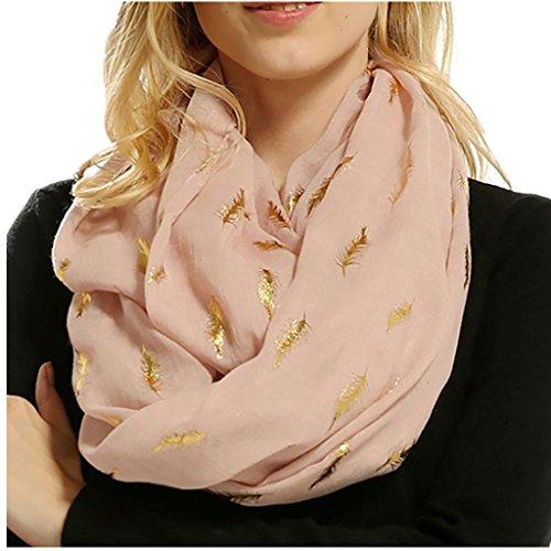 Women Soft Scarf Feather Print Lightweight Shawl Warm Bronzing Neck Wrap Scarves (Feather Print Scarf)
