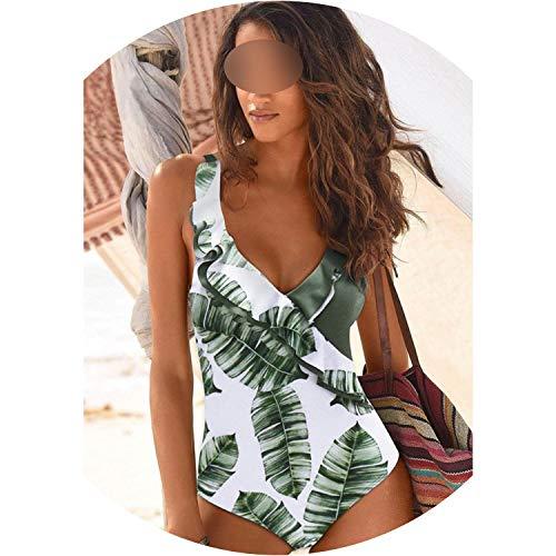 2019 Swimsuit Women One Piece Monokini Vintage Swimwear Slimming Bodysuit Female Black Bathing Suit,Green Print,M