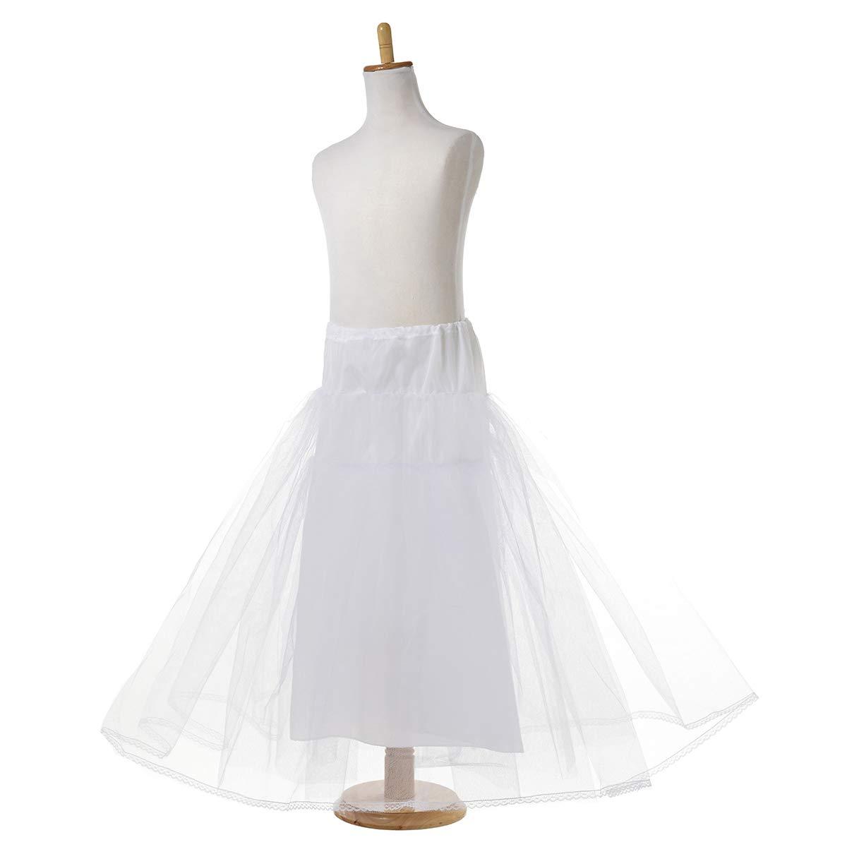 AW Girls Hoopless Petticoat Kids Tutu Skirt Dress Soft Tulle White Crinoline Underskirt