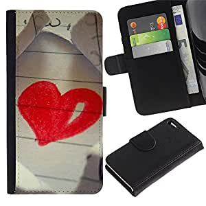 Ihec-Tech / Flip PU Cuero Cover Case para Apple Iphone 4 / 4S - Love Drawing Heart