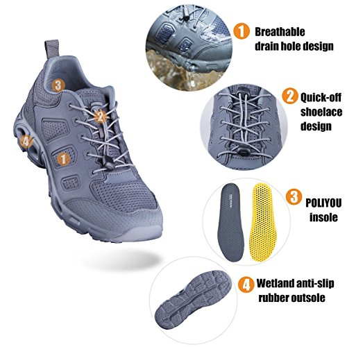 Free soldier Outdoor Men's Ultra Light Breathable Quick Drying Water Shoes Tactical Hiking Shoes Grey ItOebSt2BE