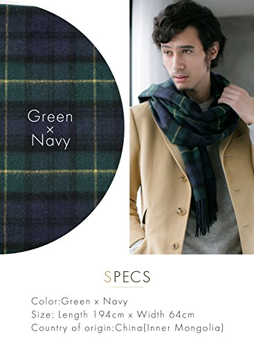 Green X Navy 100% Cashmere Plaid Shawl Stole Men's 2017 Gift Scarves Wrap Blanket B0824B2-8 by matti totti (Image #2)