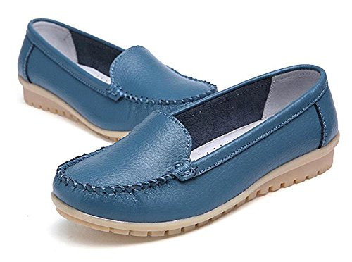 Mine Tom Mujer Chicas Moda Verano Zapatos Zapatillas De Mocasín Punta Redonda Zapatos Azul