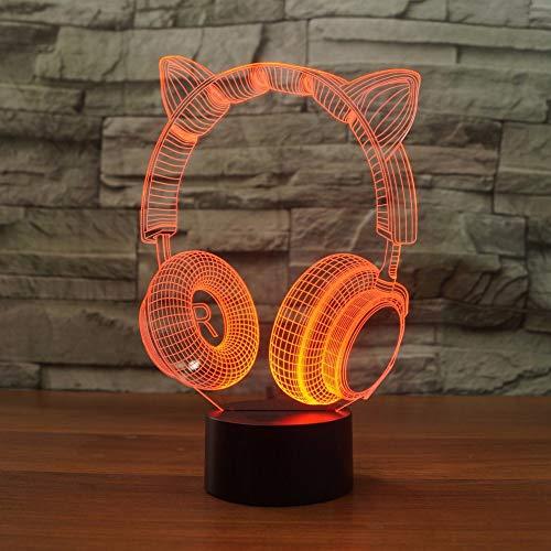 DFDLNL Dormitorio LED de Dibujos Animados USB 3D Lovely Cat Ear Headset Night Light Escritorio Lampara de Mesa 7 Cambio de Color Ambiente Decoracion de la lampara