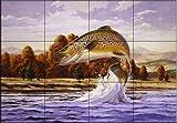 Ceramic Tile Mural - Brown Trout - by John Rice - Kitchen backsplash / Bathroom shower
