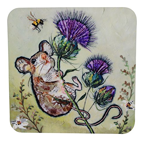 Dawn Maciocia 'First To The Top' Cute Wee Mouse & Scottish Thistle Coaster Table - Scottish Kilt Table