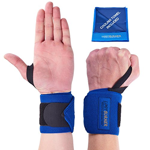 Wrist Wraps for Weightlifting, CrossFit and Gym | Lifting Straps with Wrist Support for Men and Women | Antistatic & Comfortable Grips for Powerlifting or Carpal Tunnel | BONUS Cooling Towel by Limit Burner