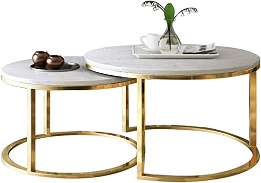 Living Room Nesting End Table Set Of 2 Marble Coffee Table Round