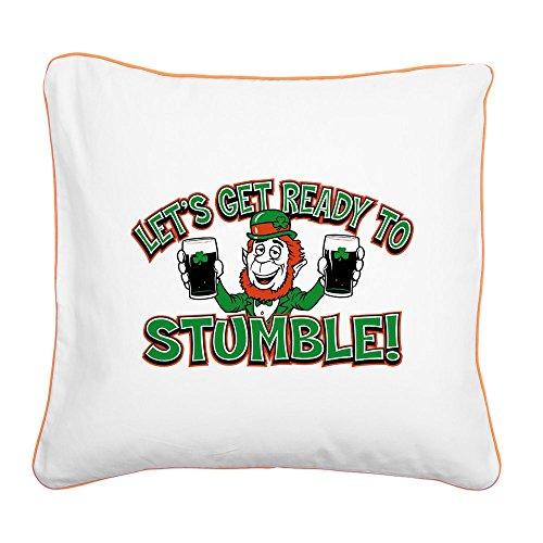Square Canvas Throw Pillow Orange Ready To Stumble Irish Shamrocks ()
