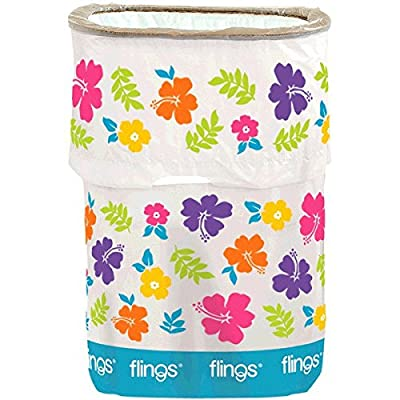 "amscan Hibiscus Party Flings Bin, 22"" x 15"" x 10"", 13 Gallons: Toys & Games"