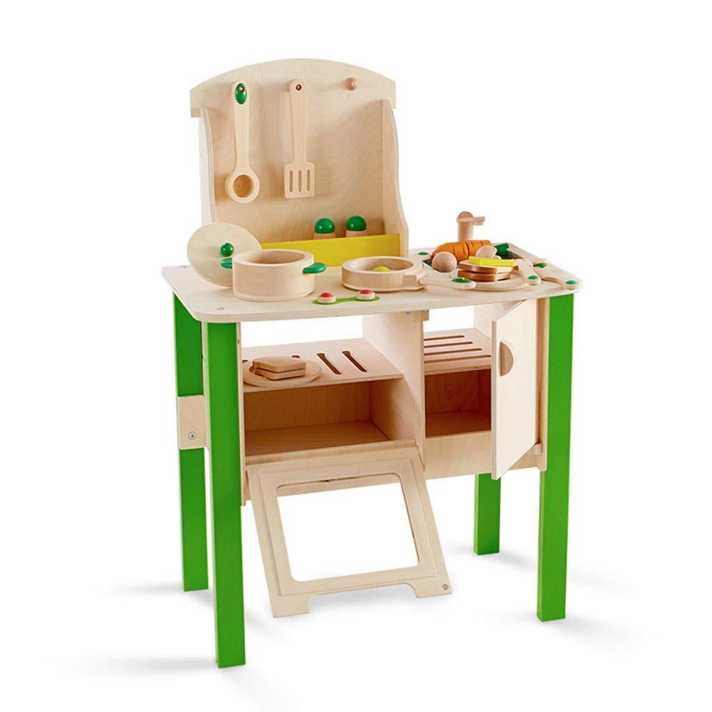 調理器具食器 木製子供用キッチン玩具シミュレーションキッチンプレイセット男の子と女の子のおもちゃキッチンロールプレイングギフト (Color : Green, Size : 54*31*51cm) 54*31*51cm Green B07SL1QD4Y