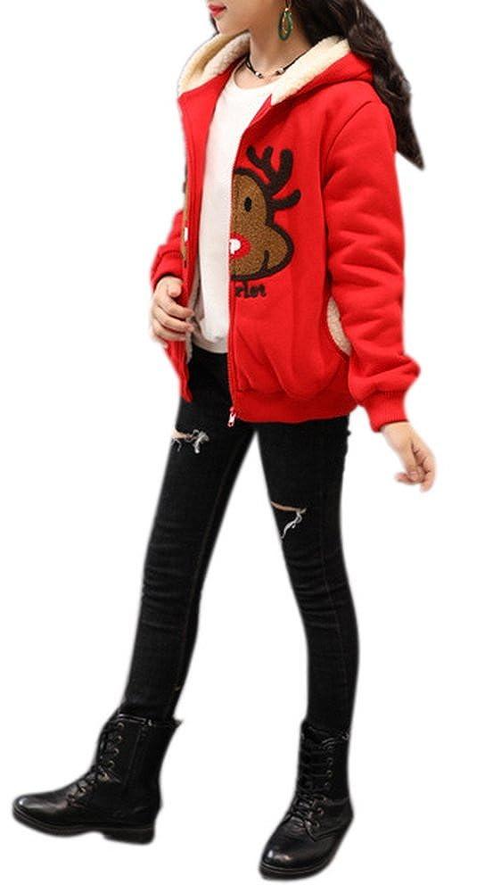 COLINNA Girls Winter Warm Christmas Thick Fleece Hooded Outwear Coat Jacket with Zipper