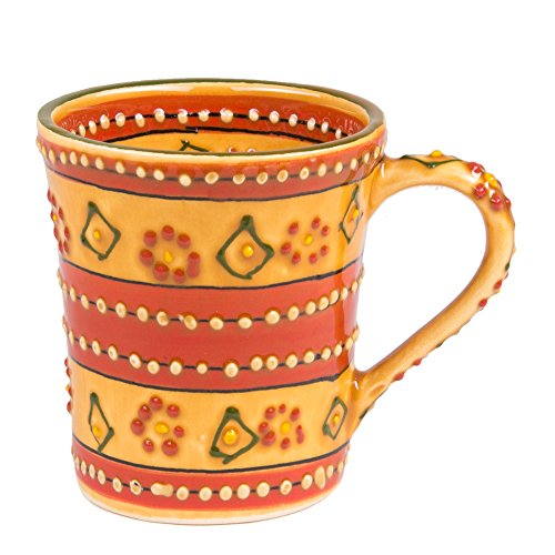 (Mexican Themed Coffee Mugs - Hand Painted and Custom Made Traditional Mexican Pottery - Bright, Colorful, Lead Free and Superior)