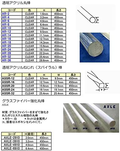 模型材料・工作材料 透明アクリル丸棒(AR-2)