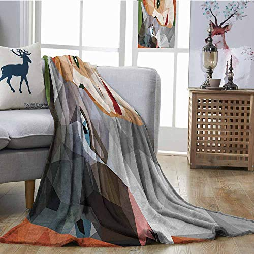 Fickdle Throw Blanket Animal Geometrical Mosaic Little Cute Cat and Owner Women Smiling Sleeping Couple Image Multicolor Blanket for Sofa Couch Bed W54 -