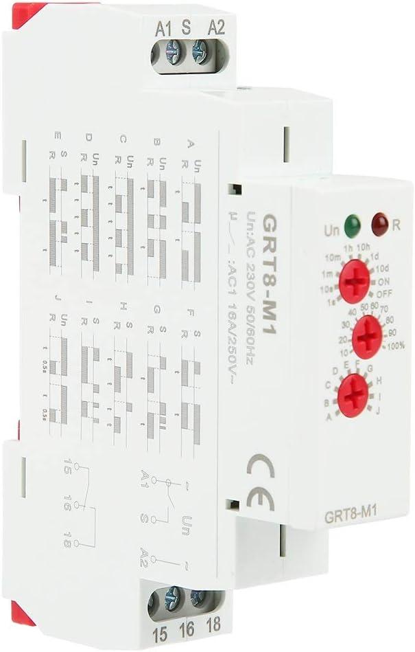 Relais Retardateur Multifonctions BiuZi GRT8-M1 Relais Temporis/é Relais A1-A2 Terminal Mini Cycle Asym/étrique Relais Retardateur Multifonctions Avec 10 Fonctions Montage Sur Rail DIN AC 220V