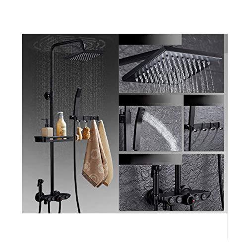 Black shower set, full copper bath artifact, bathroom shower, shower, household shower head,-black4