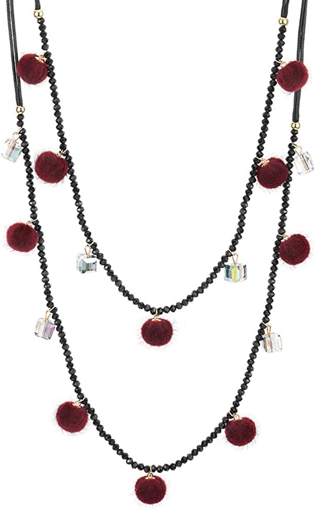 COOLSTEELANDBEYOND Two-Layer Black Statement Necklace Long Beads Chain with Red Pom Pom Balls and Cube Charms Pendant