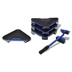 Kit de déplacement de meuble, 1 levier et 4 coins roulants