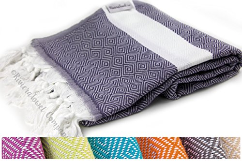 Diamond Print Turkish Towel Peshtemal in 100% Cotton for Beach Bath Swimming Pool Yoga Pilates Picnic Blanket